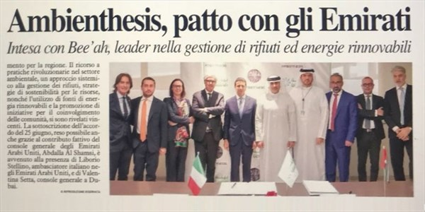 Damiano Belli - Green Holding vola negli Emirati Arabi